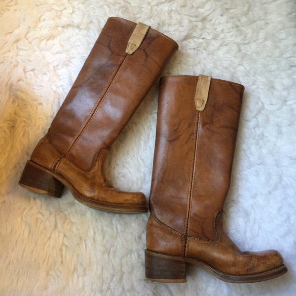 295 Vtg Leather Chunky Platform Boots